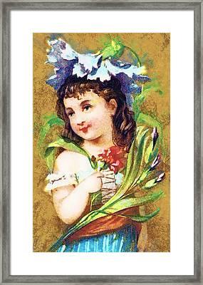Flower Girl Framed Print by Vintage Trading Cards