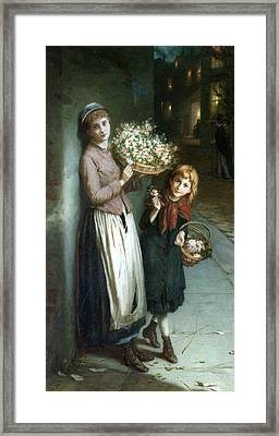 Flower Girls A Summer Night Framed Print by Augustus Edwin Mulready