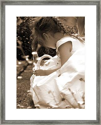 Flower Girls In Sepia Framed Print by Terri Waters