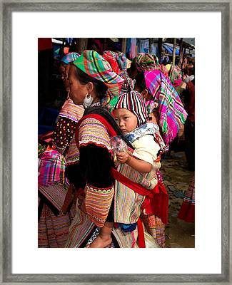 Flower Hmong Woman Carrying Baby Framed Print by Panoramic Images
