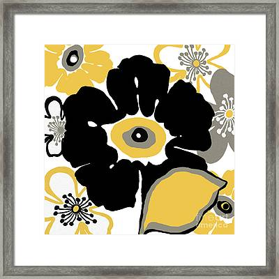 Flower In Black And Gold Framed Print by Marilu Windvand
