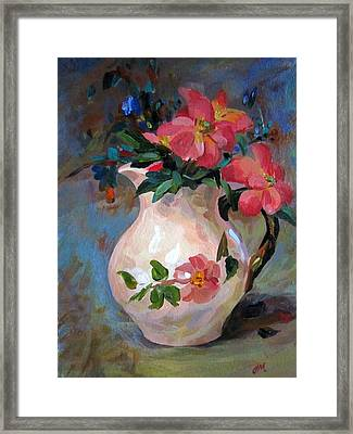 Flower In Vase Framed Print by Jieming Wang