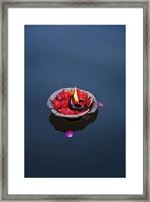 Flower Lamp On The Ganges River Framed Print by Keren Su