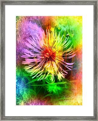 Framed Print featuring the digital art Flower Light by Nico Bielow