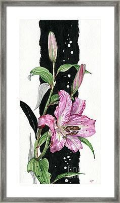 Framed Print featuring the painting Flower Lily 02 Elena Yakubovich by Elena Yakubovich