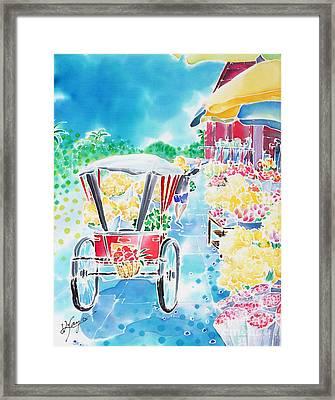 Flower Market  In Chiang Mai Framed Print