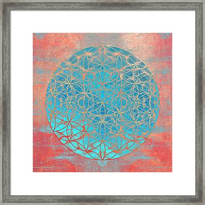 Flower Of Life Aqua Orange Framed Print