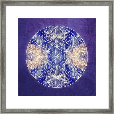 Flower Of Life Blue Framed Print