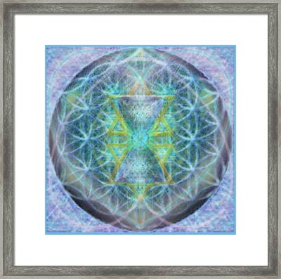 Flower Of Life Forested Chalice In Subtle Bluelavs Framed Print by Christopher Pringer