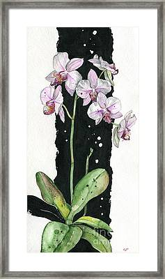 Framed Print featuring the painting Flower Orchid 02 Elena Yakubovich by Elena Yakubovich