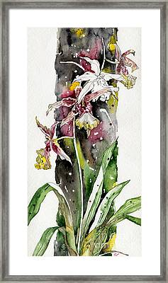 Framed Print featuring the painting Flower Orchid 03 Elena Yakubovich by Elena Yakubovich