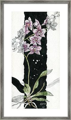 Framed Print featuring the painting Flower Orchid 04 Elena Yakubovich by Elena Yakubovich