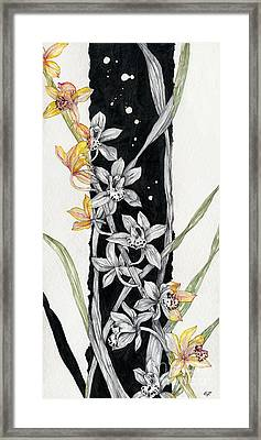 Framed Print featuring the painting Flower Orchid 07 Elena Yakubovich by Elena Yakubovich