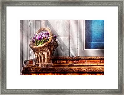Flower - Pansy - Basket Of Flowers Framed Print by Mike Savad