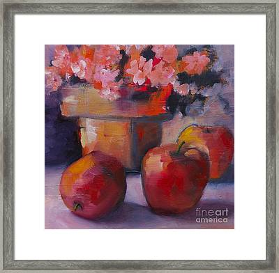 Flower Pot And Apples Framed Print by Michelle Abrams
