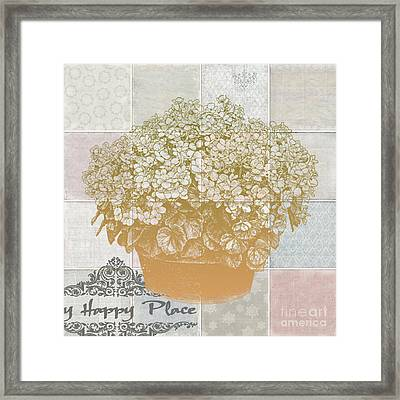 Flower Pot With Beautiful Checked Vintage Background And My Happy Place Script Framed Print
