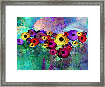 Flower Power Abstract Art  Framed Print by Ann Powell