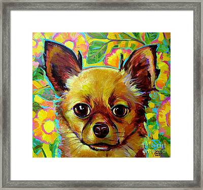 Framed Print featuring the painting Flower Power Chihuahua by Robert Phelps