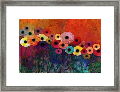 Flower Power Five Abstract Art Framed Print by Ann Powell