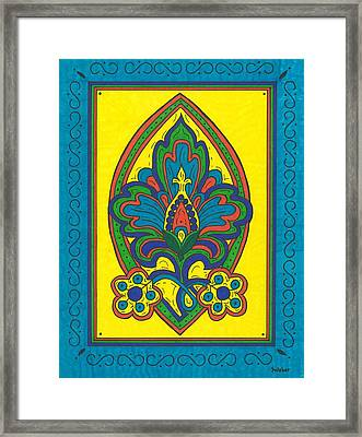 Flower Power Talavera Style Framed Print