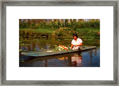 Flower Seller Xochimilco Framed Print by Spyder Webb