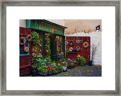Flower Shop In Prague Framed Print