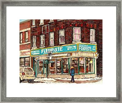 Flower Shop Rue Notre Dame Street Coin Vert Fleuriste Boutique Montreal Winter Stroll Scene Framed Print by Carole Spandau