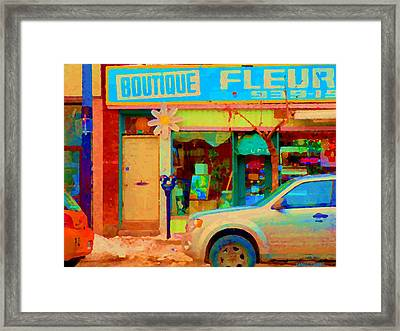 Flower Shop St Henri Boutique Fleuriste Window Notre Dame Ouest Montreal City Scene Carole Spandau Framed Print by Carole Spandau