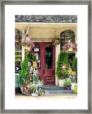 Flower Shop With Birdhouse Framed Print