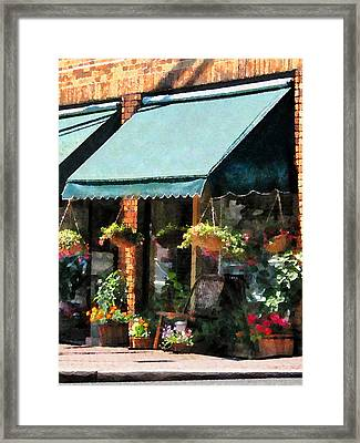 Flower Shop With Green Awnings Framed Print