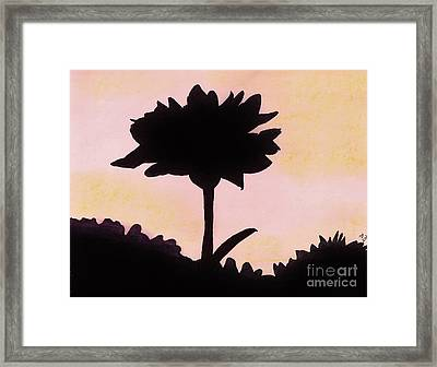 Framed Print featuring the drawing Flower - Sunrise by D Hackett