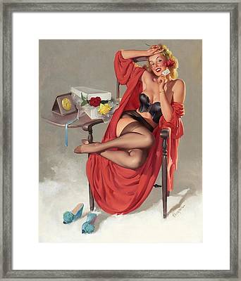 Flower Surprise Pin-up Girl Framed Print