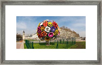 Flower Tree Sculpture At Place Antonin Framed Print by Panoramic Images