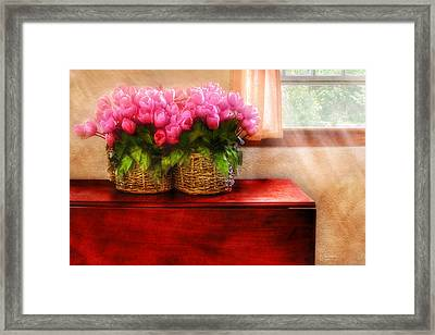 Flower - Tulips By A Window Framed Print by Mike Savad
