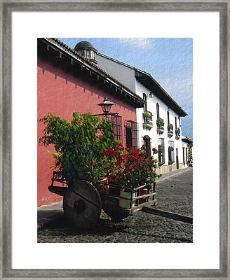 Flower Wagon Antigua Guatemala Framed Print