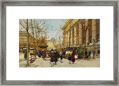 Flower Walk Framed Print by Eugene Galien-Laloue