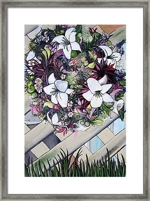 Framed Print featuring the painting Floral Wreath by Mary Ellen Frazee
