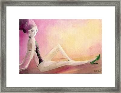 Flowered Bathing Suit Fashion Illustration Art Print Framed Print by Beverly Brown