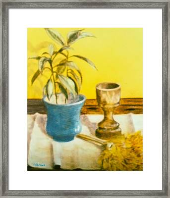 Flowerpot Goblet And Featherduster Framed Print