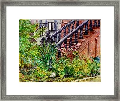 Flowers And Balustrade Eighth Street Framed Print