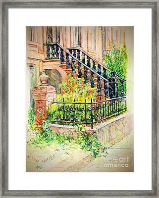 Flowers And Balustrade Ninth Street Framed Print
