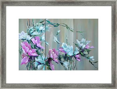 Flowers And Bamboo - Tryptych Framed Print by Steven Nevada
