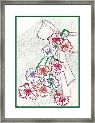 Flowers And Bow Framed Print by Becky Sterling