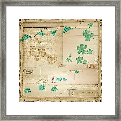 Flowers And Bunting Framed Print