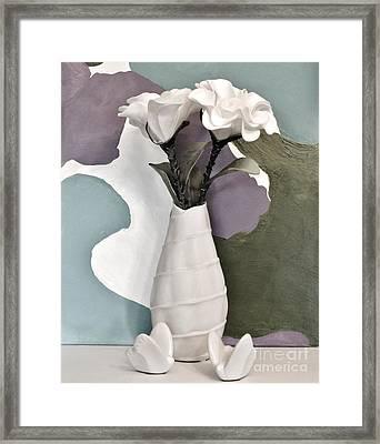 Flowers And Butterflies Framed Print by Marsha Heiken