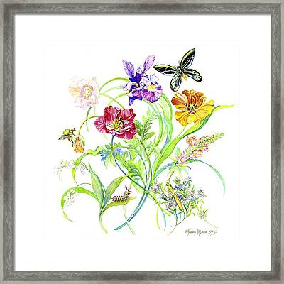 Flowers And Butterfly Framed Print by Kimberly McSparran
