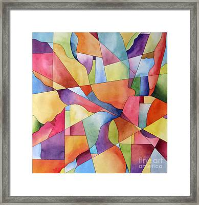 Flowers And Candy Geometric Abstract Framed Print by Cherilynn Wood