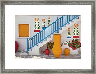 Flowers And Colorful Pots, Chora Framed Print by Adam Jones