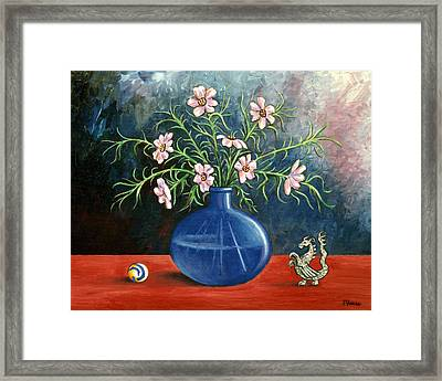 Flowers And Dragon Framed Print by Linda Mears