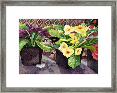 Flowers And Eagle Feathers Framed Print